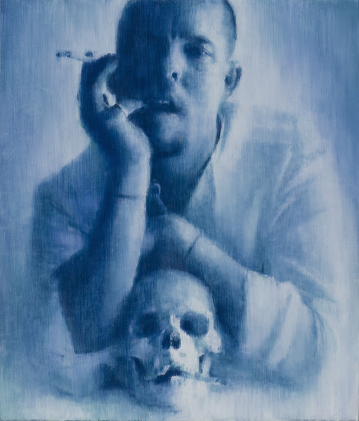 Designer with cigarette skull, 77x 65, oil on canvas