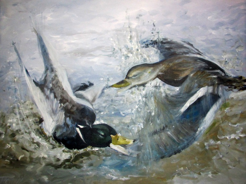 Ducs fighting - acryl 90X115