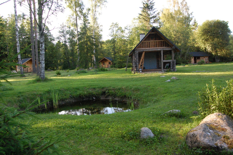 Pond, cabins, sauna and summerkitchen