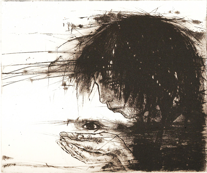 At Glance, dry point 2013 15x17,8cm