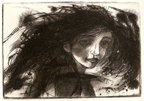 Hairelongation, dry point 2011 7x10 cm