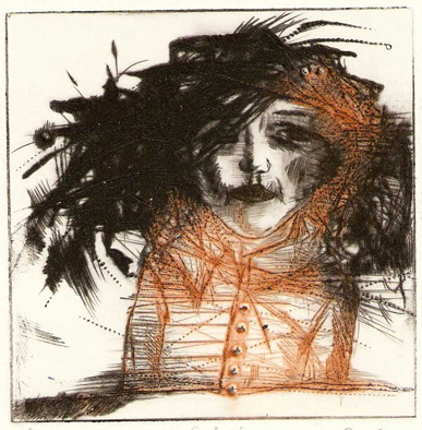 Buttons, dry point 2010 10x10 cm