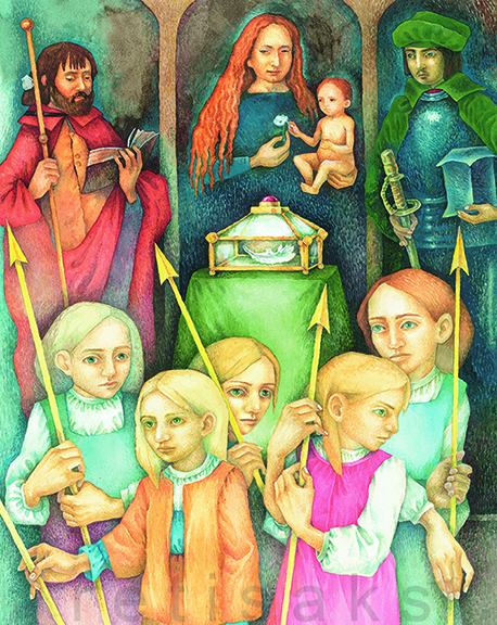 "Illustration for the fairy-tale ""Maarja's Well"", watercolor painting 1999, image size 20.3 x 29.1 cm / 8 x 11,5 inch"