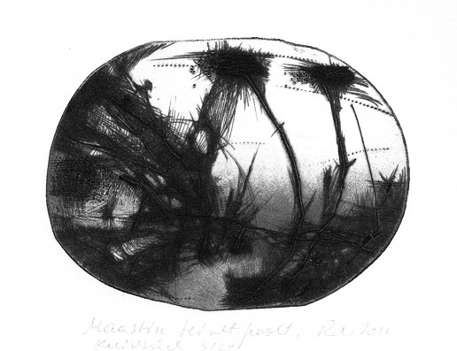 Landscape of the Other Side, dry point 2011 7,8 x10,3cm