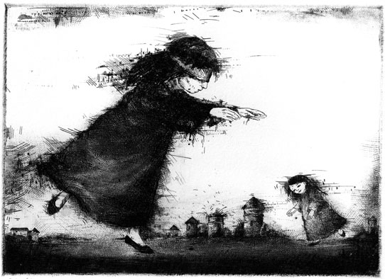 Seeking, etching, mezzotinto 1985 13,1 x 17,7 cm
