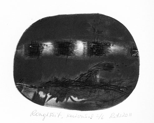 Slow Train Coming, dry point 2011 8x10,2 cm