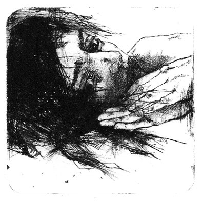 Hands just Right II, dry point 2008  10x10 cm