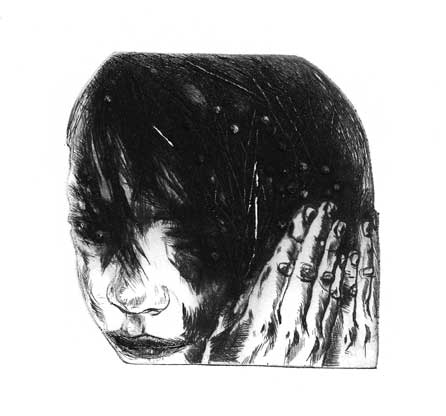Hair just right, dry point 2011  8x8cm