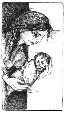 Birth, etching 2006  14x8 cm