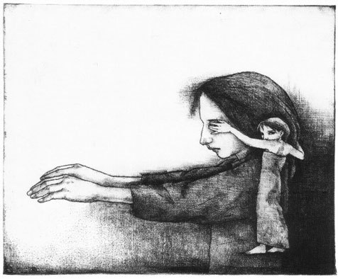The Eyes of the Fate, intaglio printing 1995 13,1 x 16 cm .