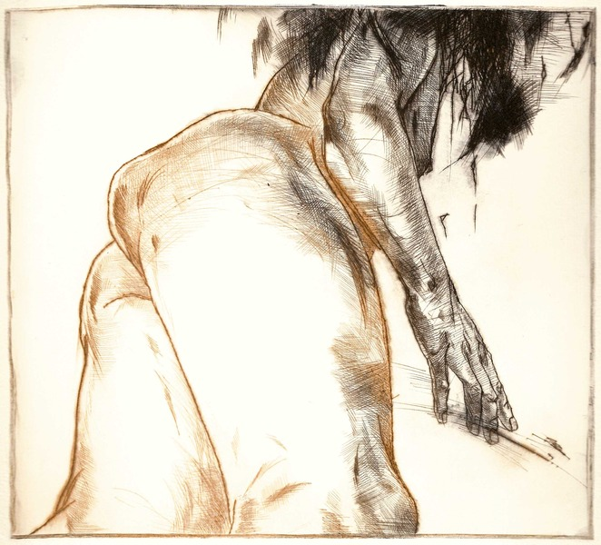 Bathe 1, dry point 2010 16,7x18,2 cm