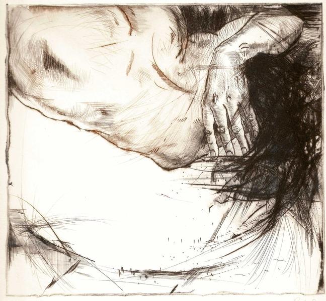 Bathe 2, dry point 2010 17x18,4 cm