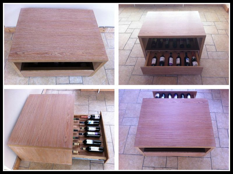 Coffee table with wine shelf