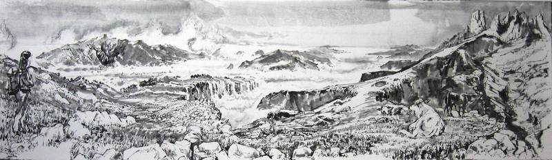 Picos de Europa, ink on ricepaper, 130 x 40
