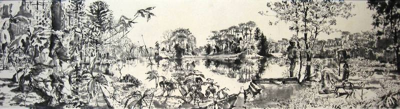 Puffer's Pond, ink on Ricepaper,  130 x 30 cm