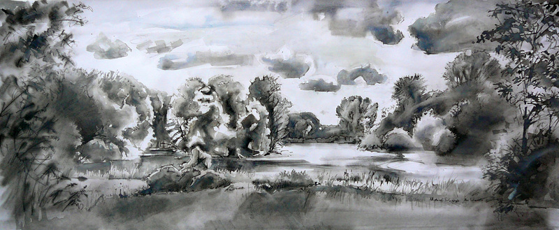 The Lake-isle, Raaphorst vijver, ink painting