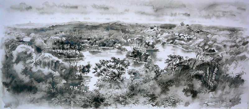 The Lake-isle, Meyendel, inkpainting