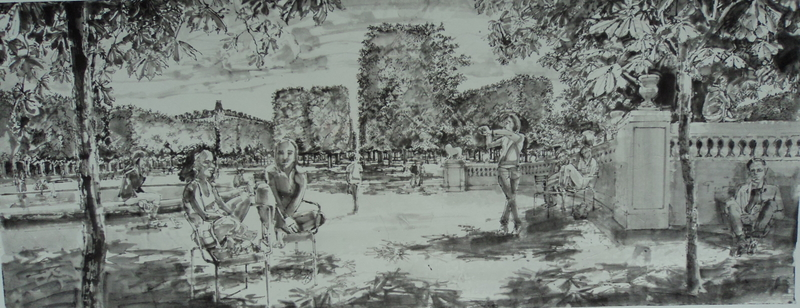 Luxembourg, ink on ricepaper, 110 x 45