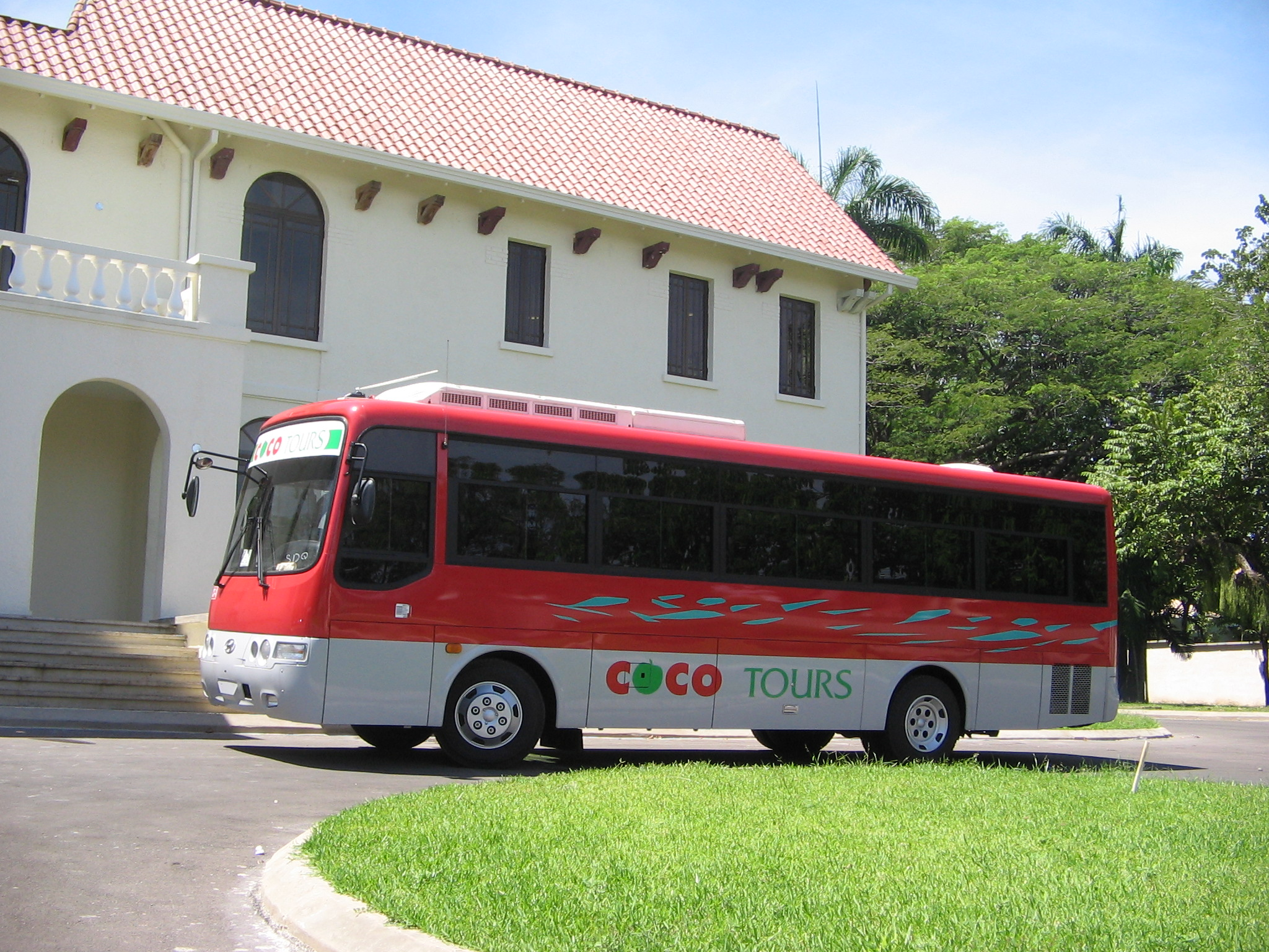 Larger Cocotours bus used on the route from Amber Cove to Samana