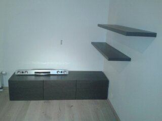 Stained and lacquered oak veneer TV base and shelves