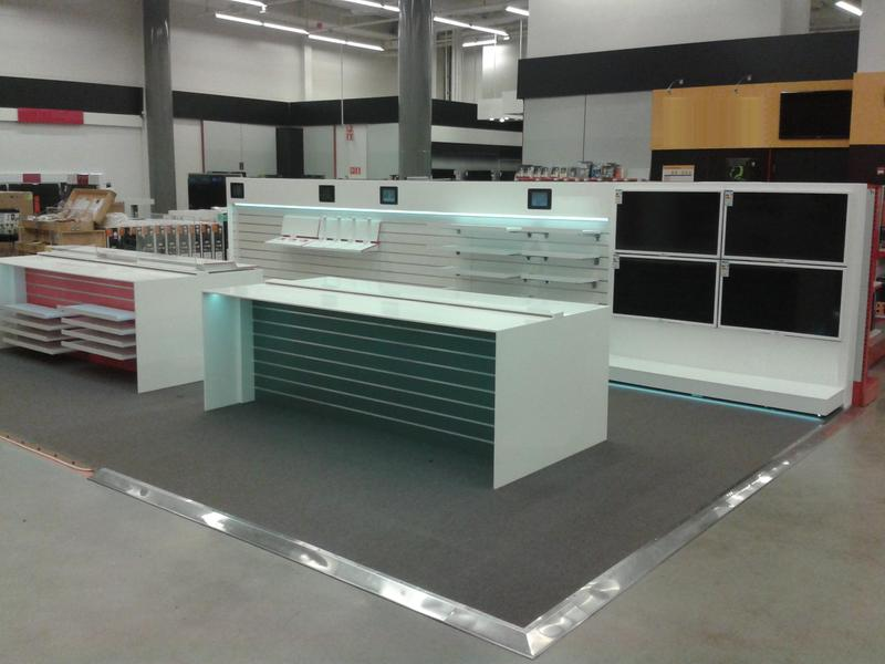 Furniture for store made from artificial stone (staron)