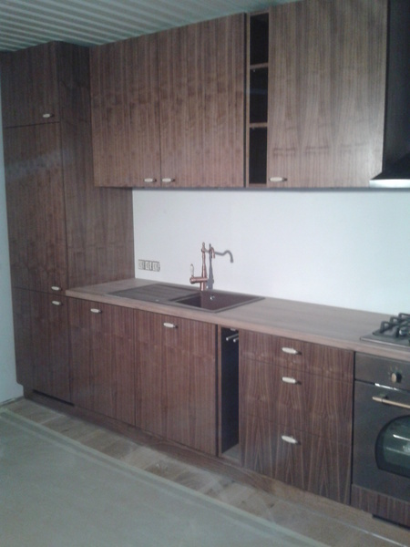 Kitchen made from walnut veneer