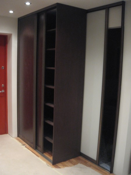 Wardrobe with pronze glass doors, frame wenge melamine