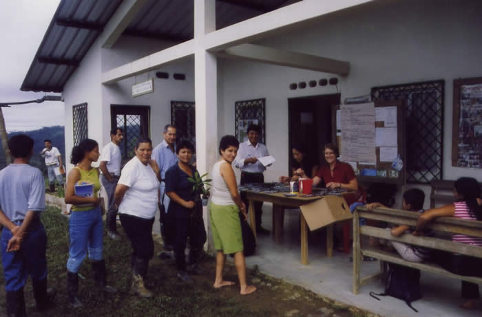 Meeting of health workers in front of the health centre